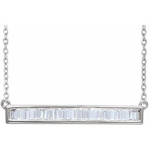 Channel Set Baguette Bar Necklace