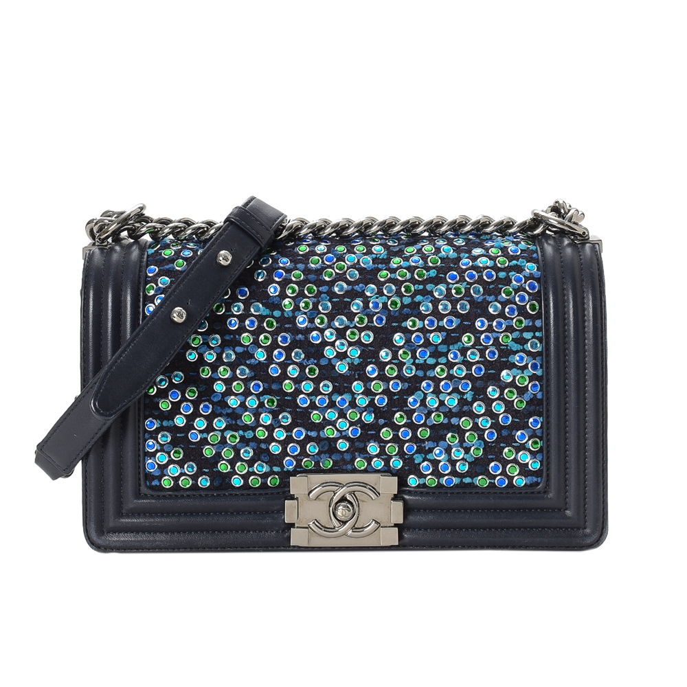 Chanel - Rhinestones Chevron Old Medium Boy Bag - 15015408926802