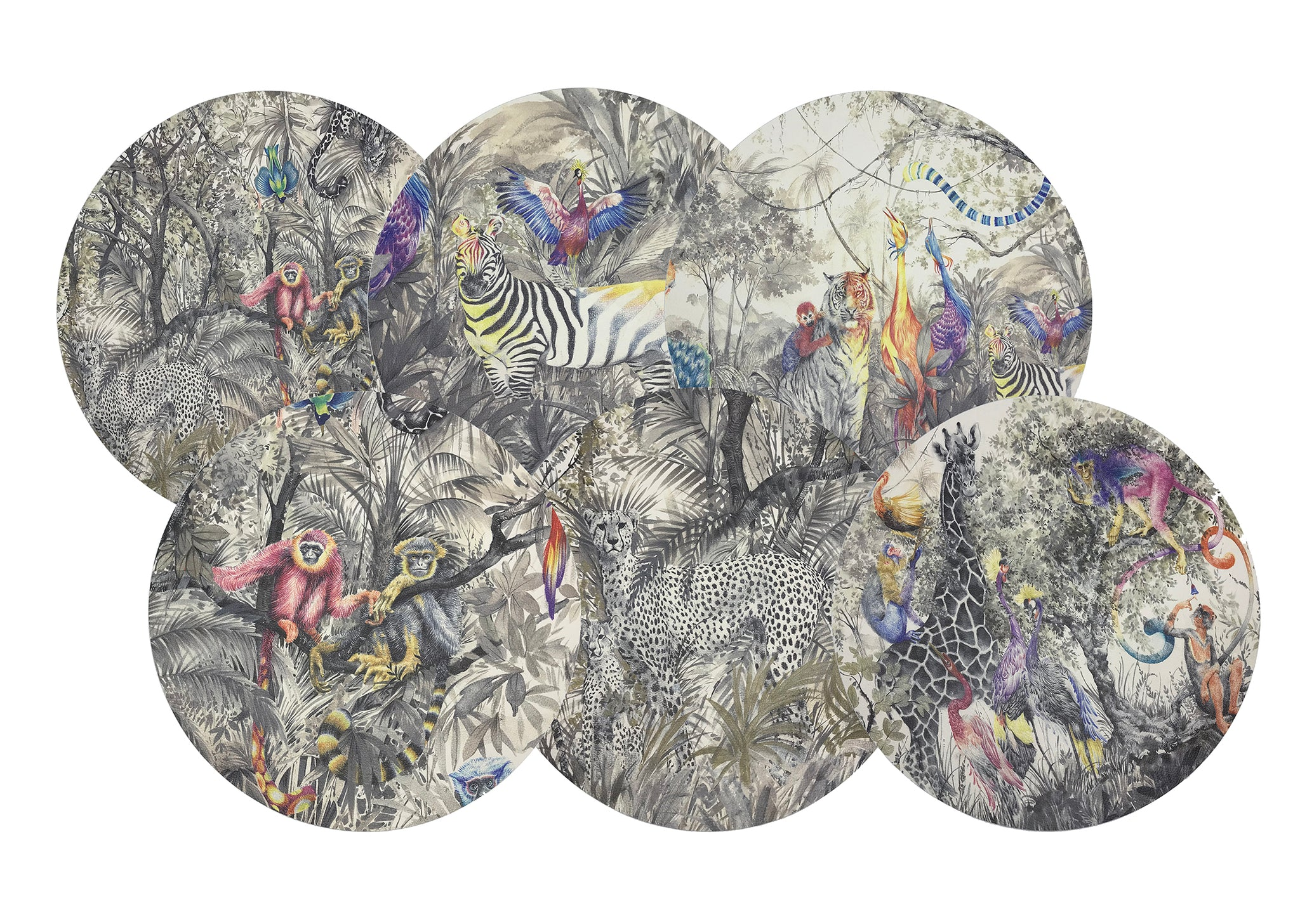 Arcadia Animalia Jungle Collection of Mixed Hand Painted animals in a fantastical Eden-like Jungle Scenic.