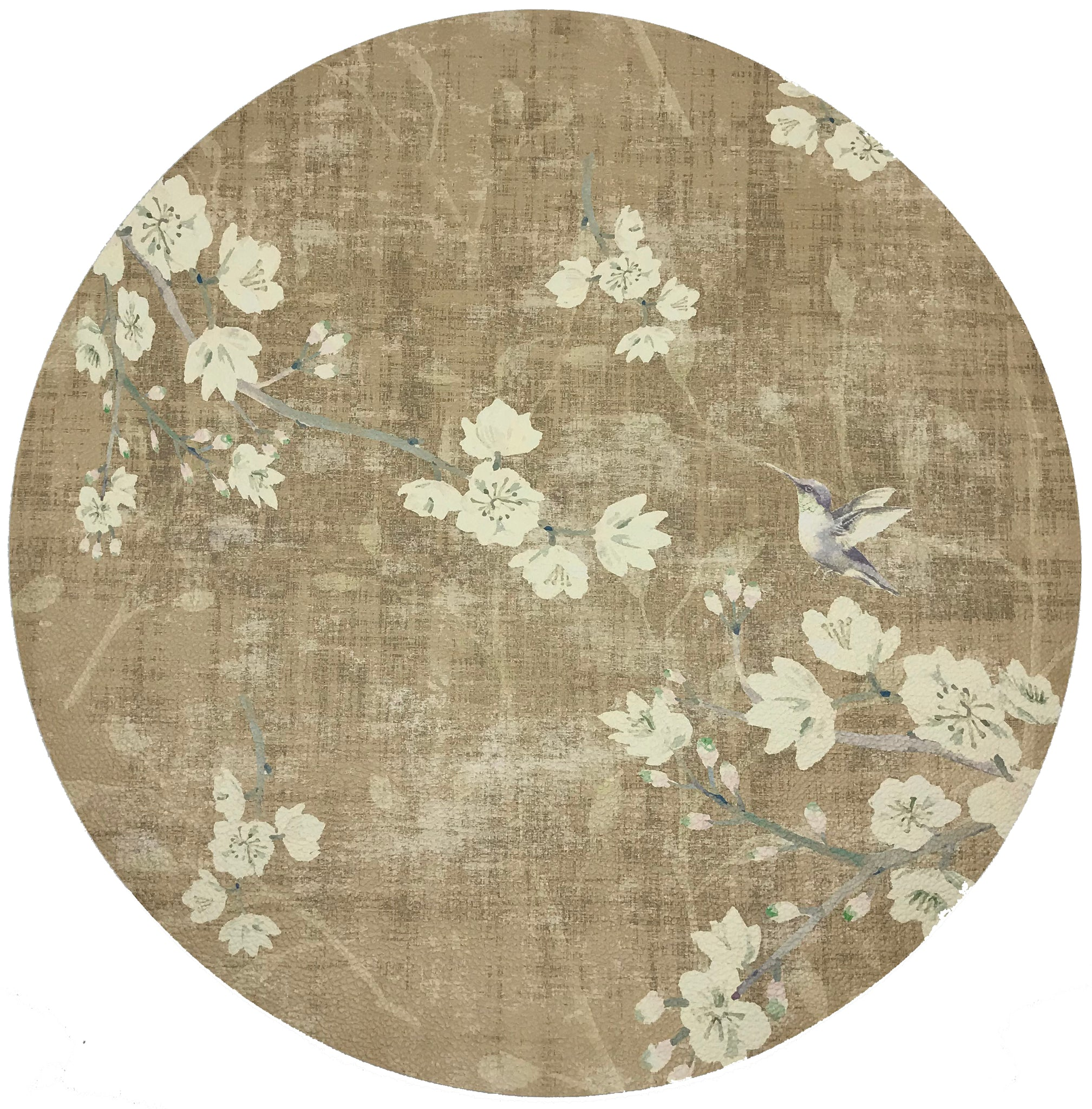 "BLOSSOM FANTASIA GOLD 16"" ROUND PEBBLE PLACEMAT, SET OF 4 - nicolettemayer.shop"