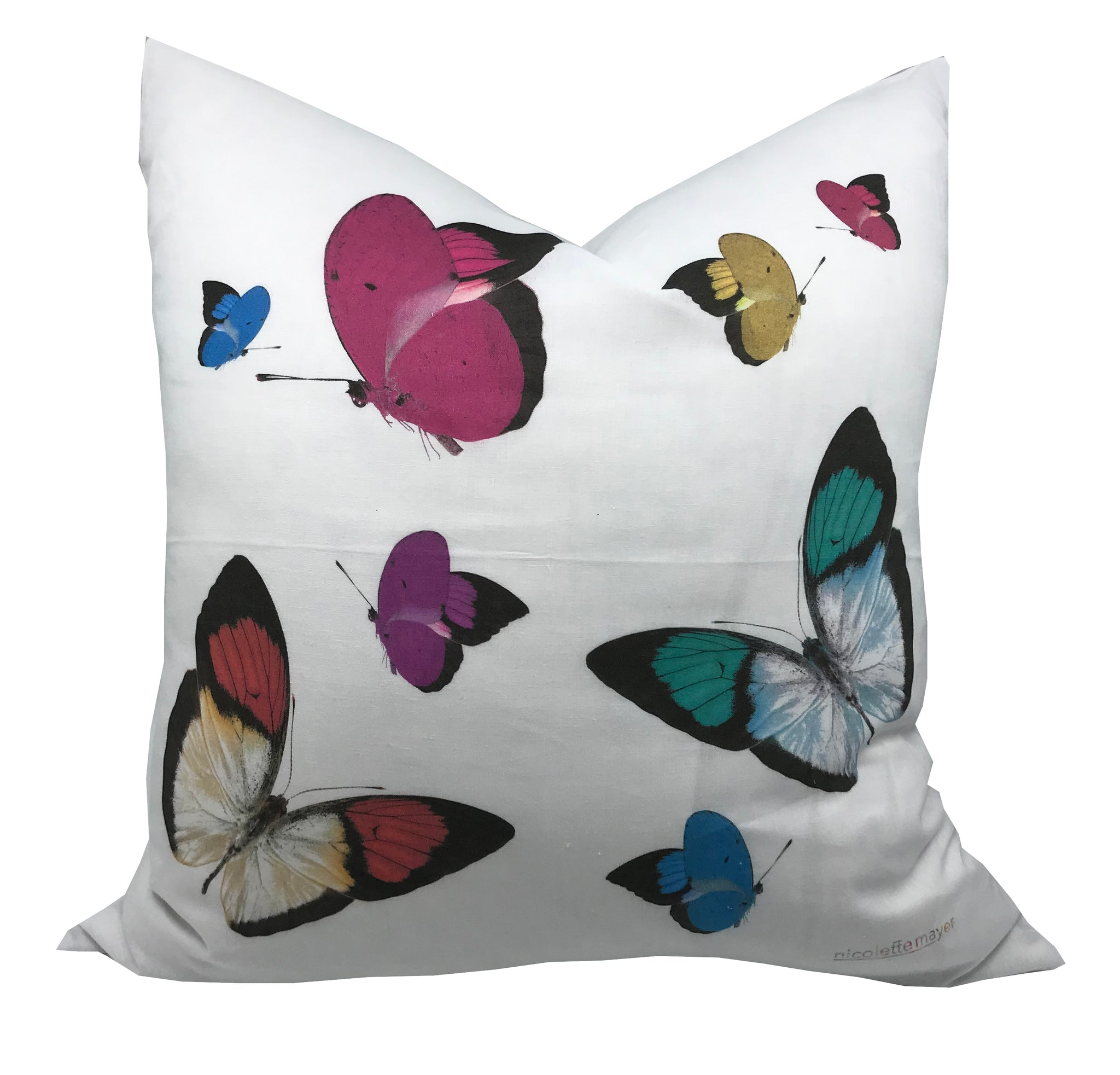 "BUTTERFLIES 22""x22"" DESIGNER PILLOW - nicolettemayer.shop"