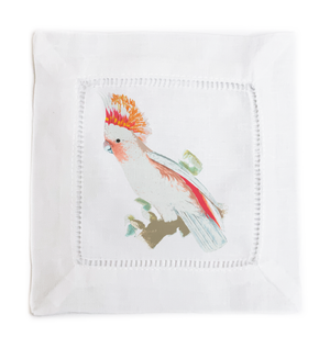 COCKATOO 6X6 HEMSTITCH COCKTAIL NAPKINS, SET OF 4 - nicolettemayer.shop