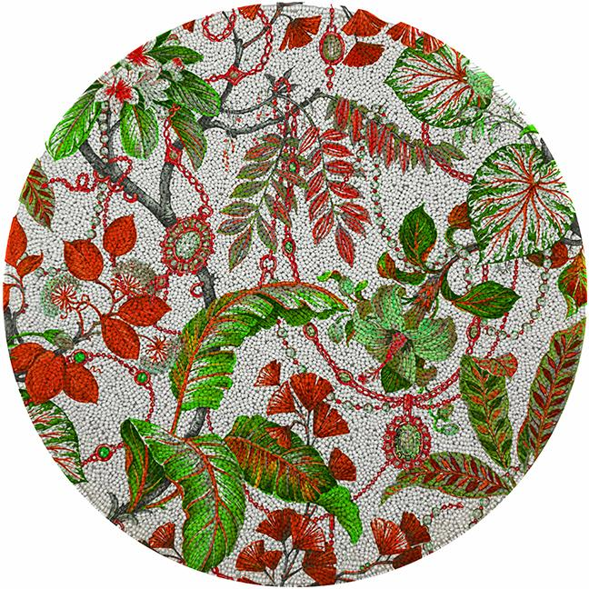 Plumeria Red Greenl 16 Round Smooth Beaded Placemat Nicolettemayer Com