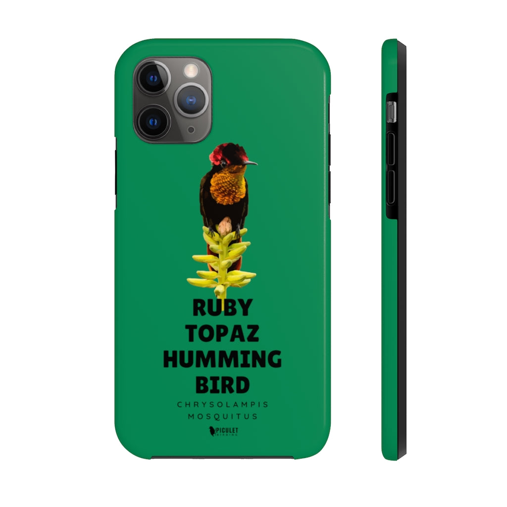iPhone (11, 11pro,11 promax) tough Case for Birders - Ruby Topaz