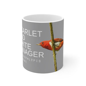Coffee Birding Mug - Scarlet and white Tanager- Mug for Birdwatchers