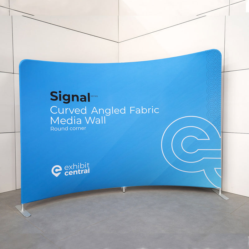 Signal Curved Angled Fabric Media Wall - 3 x 2.3m