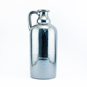Bottle Shaped Vase with Handle 16in - Pewter