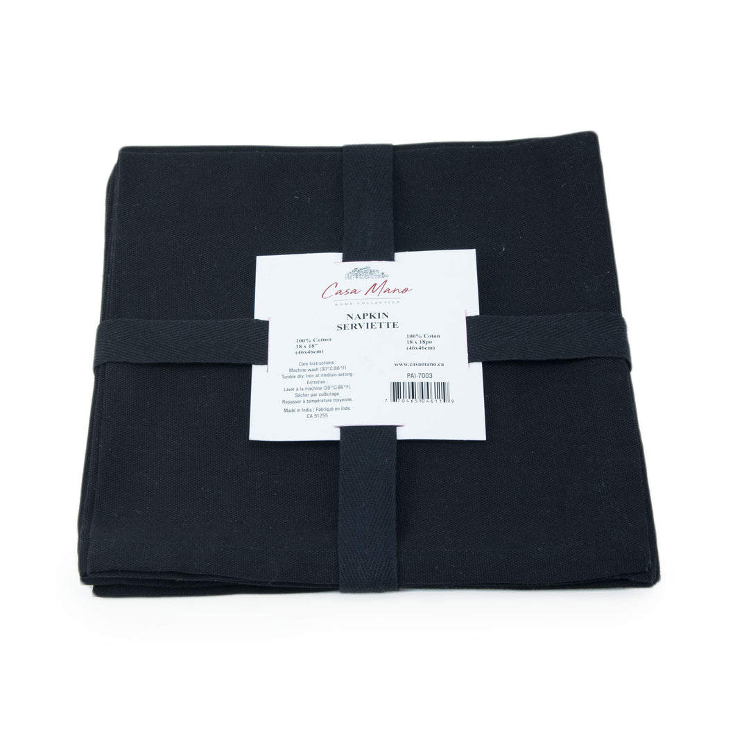 Solid Black Cotton Napkins Set/4 18x18in