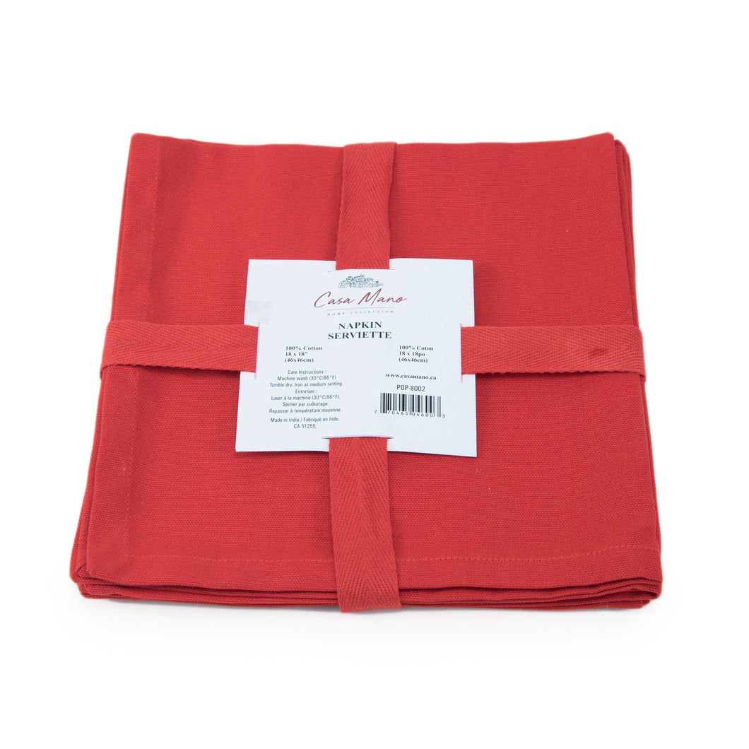 Solid Red Cotton Napkins Set/4 18x18in