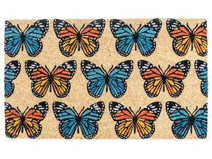 Coir Door Mat - Butterfly Print 18x30in