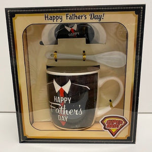 Ceramic Dad Mug with Lid and Spoon (Assorted Designs)