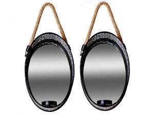 Metal Hanging Oval Mirror Sconce 2pc. Set 6.7x4.6x2.4in