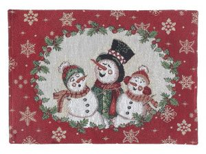 Tapestry Placemat 13x18in - Triple Snowmen
