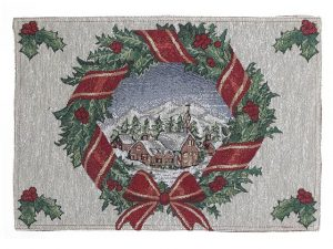 Tapestry Placemat 13x18in - Village Wreath
