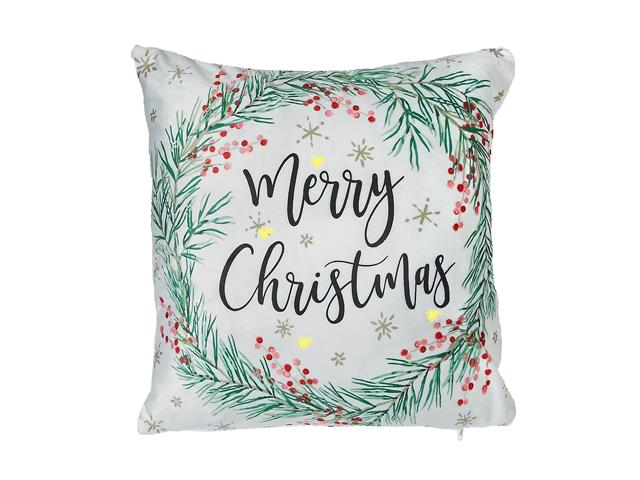LED Velvet Cushion 18x18in - Merry Christmas