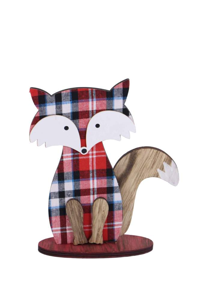 Plaid Fox Wood Table Decoration 7.8x9x2in