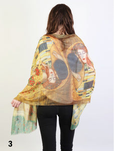 Scarf - Lightweight Oil Painting - The Kiss (Klimt)