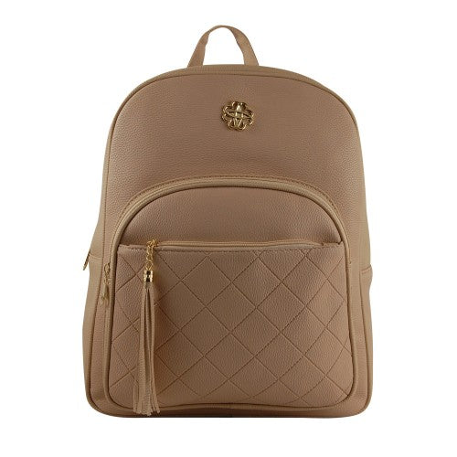 Back Pack with Quilted Pocket - Beige