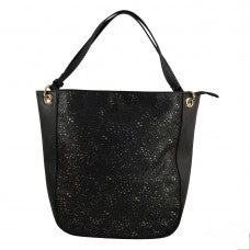 Hand Bag with Cutouts - Black