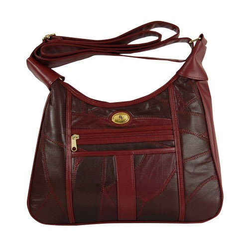 Patch Leather Hand Bag - Burgundy