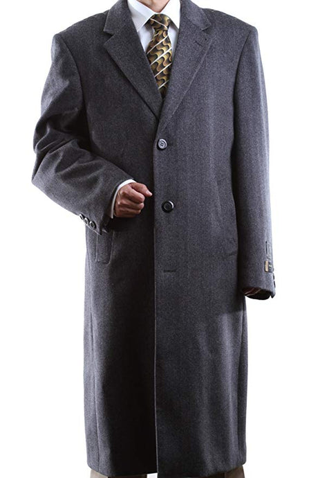 Prontomoda Men's Single Breasted Luxury Wool/Cashmere/Others Full Length Topcoat Style#L400913C Black