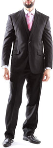 Creativo Men's Single Breasted 2 Button 3pc Vested Suit Slim Fit in Black, CT601