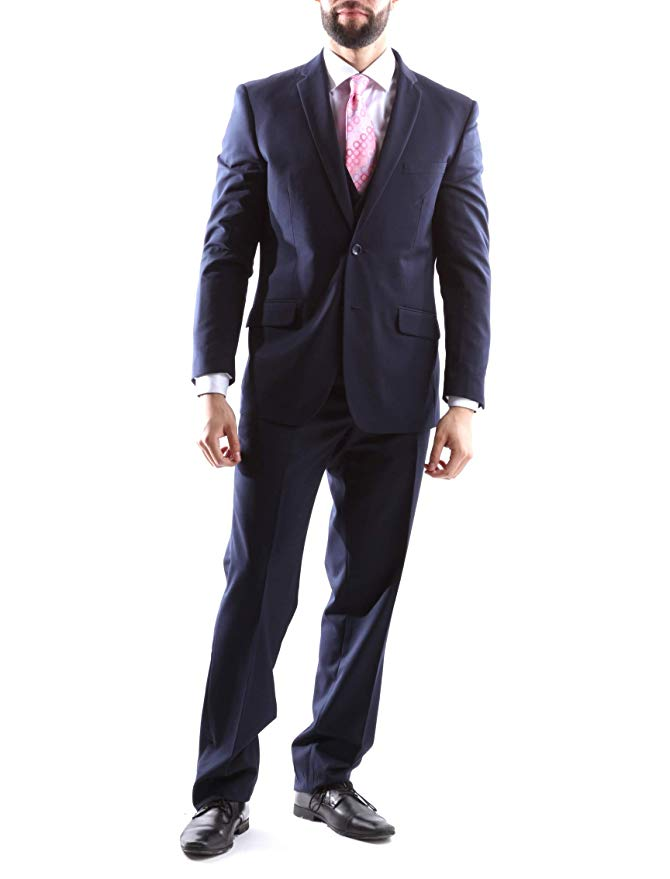 Creativo Men's Single Breasted 2 Button 3pc Vested Suit Classic Fit in Navy CT701