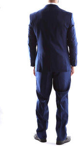 Creativo Men's Single Breasted 2 Button 3pc Vested Suit Slim Fit in Indigo, Style  CT601