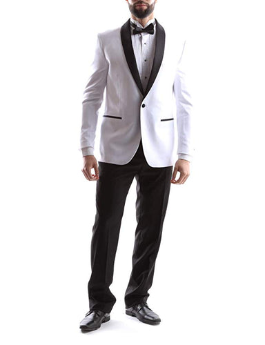 Bellio Men's Single Breasted 2 Button Shawl Lapel Slim Fit Tuxedo 2pc Suit in White, Style BL301