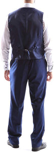 Creativo Men's Single Breasted 2 Button 3pc Vested Suit Classic Fit in Indigo Style  CT701
