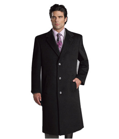 Cianni Men's 65/30/5 Wool/Poly/Others SB 3 Button Long Topcoat Style L400813X black (811)