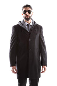 West End Men's Single Breasted Luxury Wool/Nylon 3/4 Length Winter Coat  Style#W933513C804 Charcoal (512) (free shipping)