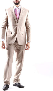 Creativo Men's Single Breasted 2 Button 3pc Vested Suit Classic Fit in Beige Style  CT701