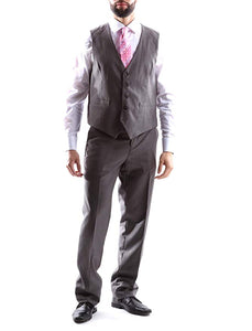 Creativo Men's Single Breasted 2 Button 3pc Vested Suit Classic Fit in Med Gray Style  CT701