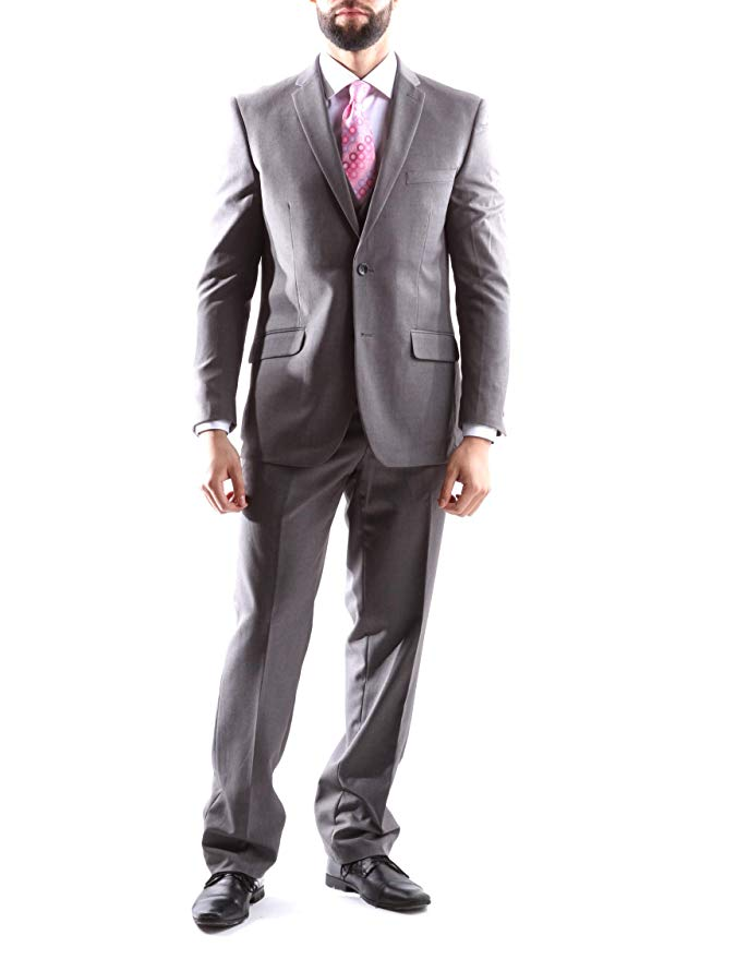 Creativo Men's Single Breasted 2 Button 3pc Vested Suit Slim Fit in Med Gray, Style#CT601