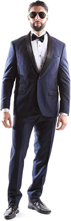 West End Men's Young Generation Shawl lapel 1 Button Slim Fit 2pc Tuxedo Suit Style 933411T141 in Navy 403