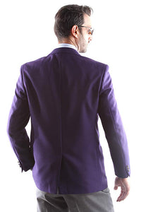 Bolzano Men's Single Breasted Two Button Blazer in Eggplant 344, Style J600312C