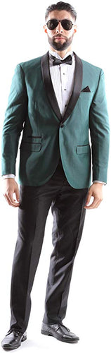 West End Men's Young Generation Shawl lapel 1 Button Slim Fit 2pc Tuxedo Suit Style 933411T141 in Hunter Green 448