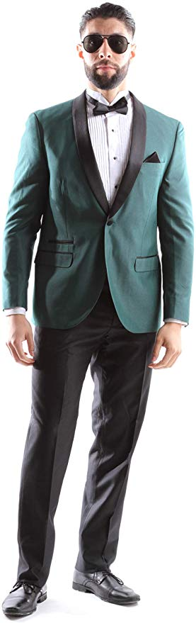 West End Men's Young Generation Shawl lapel 1 Button Extra Slim Fit 2pc Tuxedo Suit Style 933411T141 in Hunter Green 448 (free shipping)