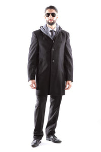 West End Men's Single Breasted Luxury Wool/Nylon 3/4 Length Winter Coat  Style#W933513C804 Black (511)