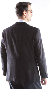 Cianni Men's Single Breasted 2 Button 100% Super Wool Gabardine Blazer Style J400112C in Black 101