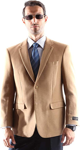 Prontomada Men's 2 Button Luxury Wool Cashmere Winter Sportcoat Style J400912S in Camel 934 (free shipping)