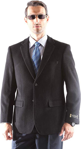 Prontomada Men's 2 Button Luxury Wool Cashmere Winter Sportcoat Style J400912S in Black 931 (free shipping)