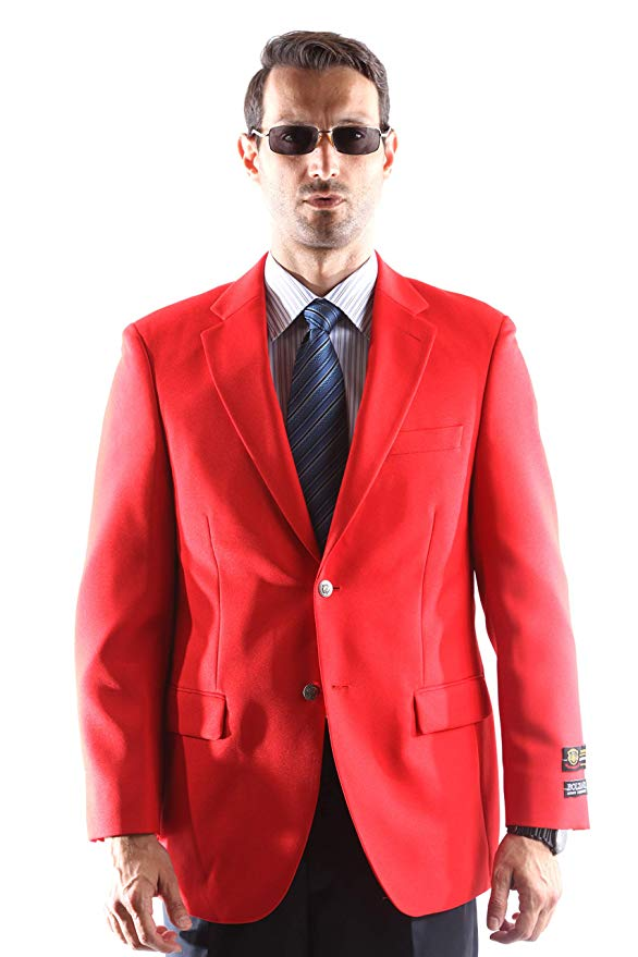 Bolzano Men's Single Breasted Two Button Blazer in RED 350, Style J600312C