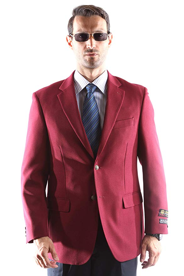 Bolzano Men's Single Breasted Two Button Blazer in Burgundy 309, Style J600312C