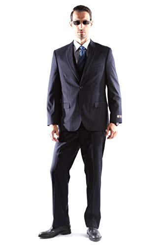 Caravelli Men's Super 150's Poly/Viscose Wool Feel Single Breasted 2 Button Regular Fit 2pc Suit Style S600512N in Navy Color (free shipping)