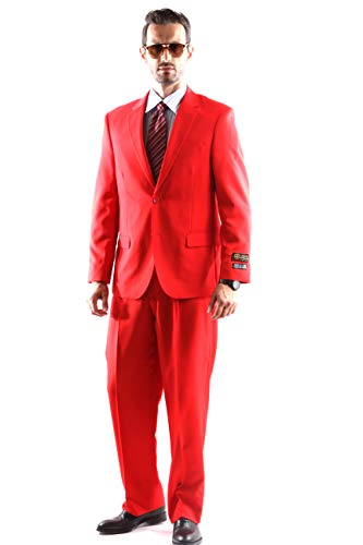 Bolzano Men's 2 Button Notch Lapel 2pc Suit Regular fit style S600212N in Red Color (free shipping)