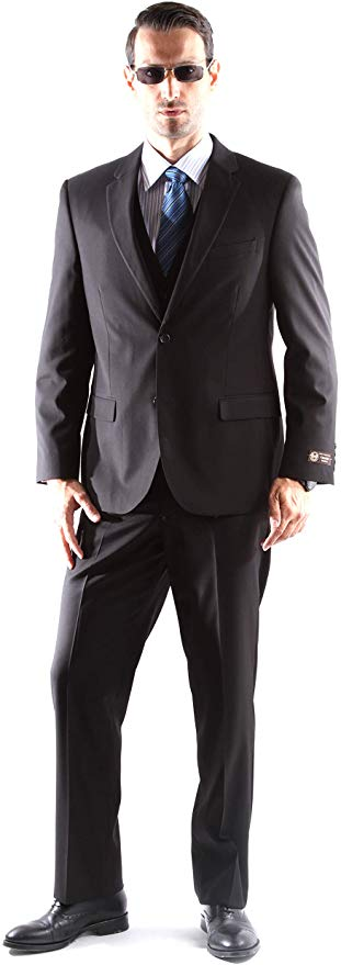 Caravelli Men's Super 150's Poly/Viscose Wool Feel Single Breasted 2 Button Regular Fit 2pc Suit Style S600512N in Black Color (free shipping)