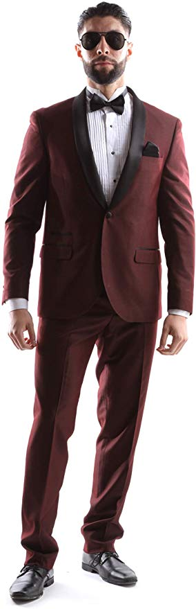 West End Men's Young Generation Shawl lapel 1 Button Slim Fit 2pc Tuxedo Suit Style 933411T141 in Burgundy 409