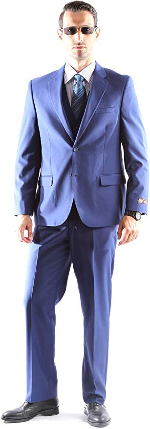 Caravelli Men's Super 150's Poly/Viscose Wool Feel Single Breasted 2 Button Slim Fit 2pc Suit Style S600512H in Cobalt 580